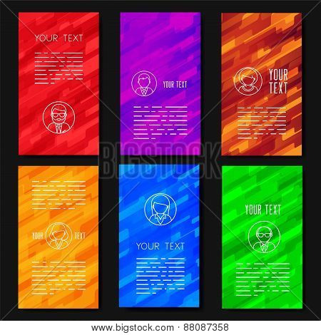 Abstract vector template design with colorful geometric backgrounds.