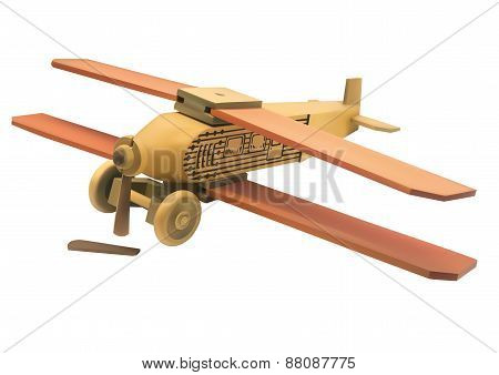 Illustration Of Old Wooden Broken Toy Airplane