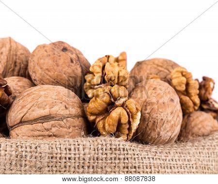 Walnuts in a bag.