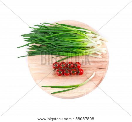 Spring onions and tomatoes.