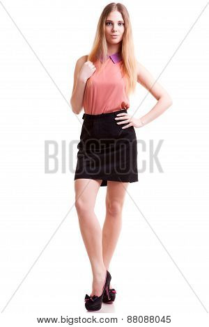 Smiling Businesswoman Full Body Over White Background