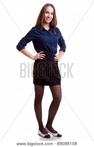 Smiling Student In Blue Shirt Full Body On White Background
