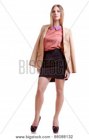 Businesswoman Full Body In Jacket On White Background