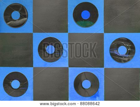 Blue And Black Color Paint With Center Gramophone Record On Square Wood
