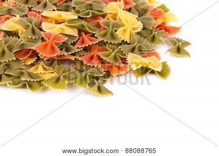Heap of farfalle pasta.