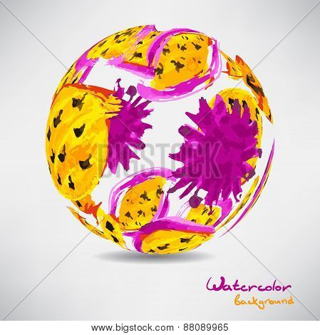 Abstract background with a ball of colored watercolor yellow pla