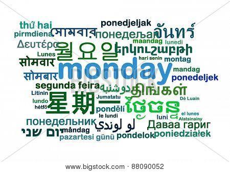 Background concept wordcloud multilanguage international many language illustration of Monday day