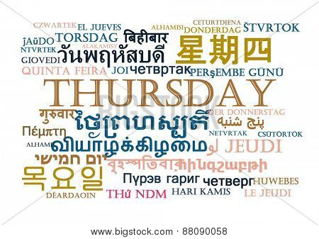 Background concept wordcloud multilanguage international many language illustration of Thursday day