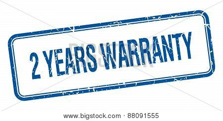 2 Years Warranty Blue Square Grungy Vintage Isolated Stamp