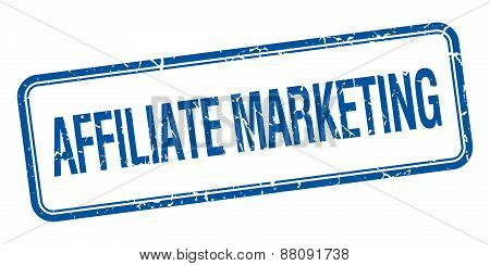Affiliate Marketing Blue Square Grungy Vintage Isolated Stamp