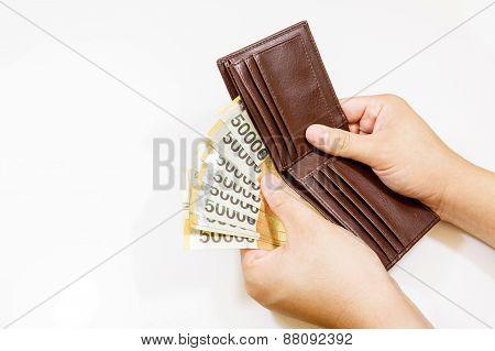 Korea Money In Brown Bag