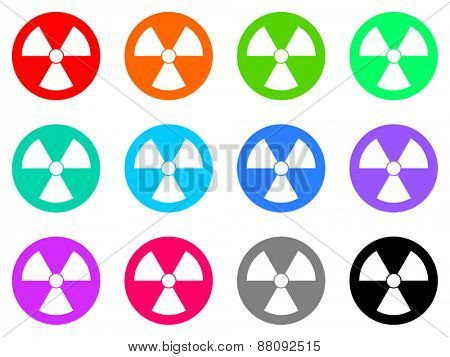 radiation vector icons set