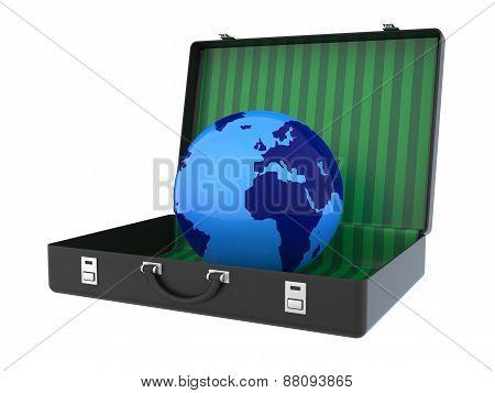 Globe Inside Suitcase 3D