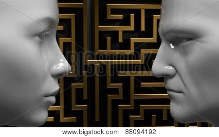 Man and woman face to face on the background of the labyrinth