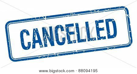 Cancelled Blue Square Grungy Vintage Isolated Stamp