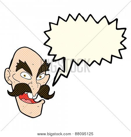 cartoon evil old man face with speech bubble