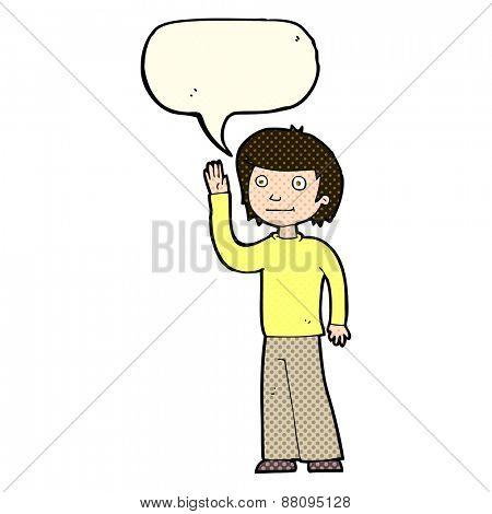 cartoon friendly boy waving with speech bubble