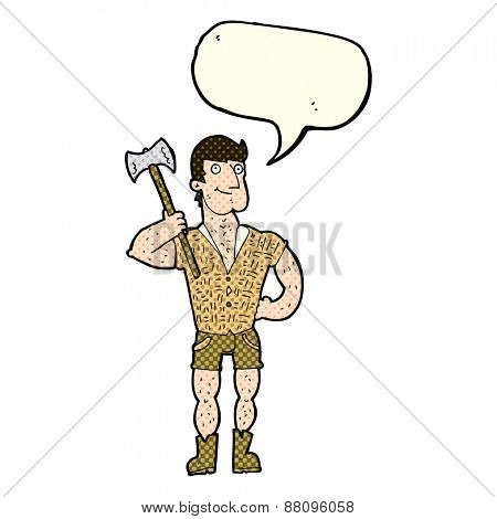 cartoon lumberjack with speech bubble