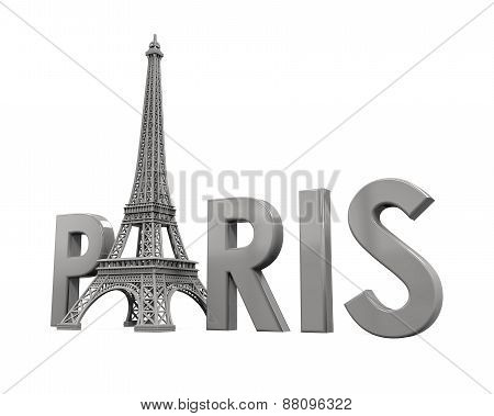 Eiffel Tower with Paris Text