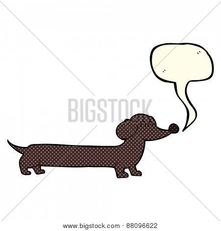cartoon dachshund with speech bubble
