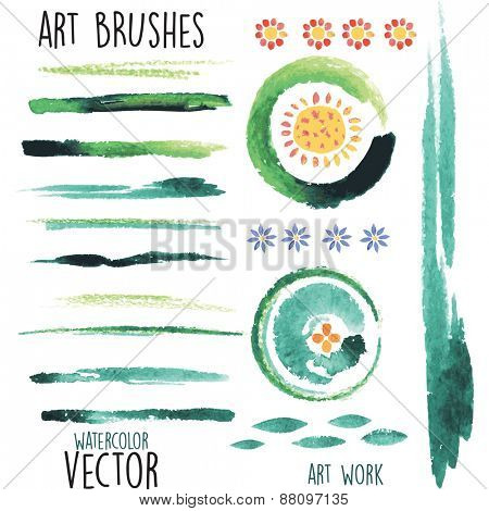Vector watercolor green brushes and floral elements
