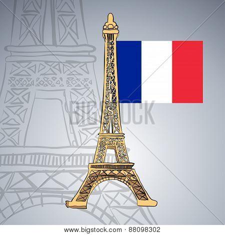 Hand drawn Eiffel Tower.