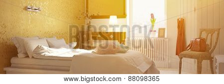 Panorama of sunny bedroom with double bed in summer (3D Rendering)