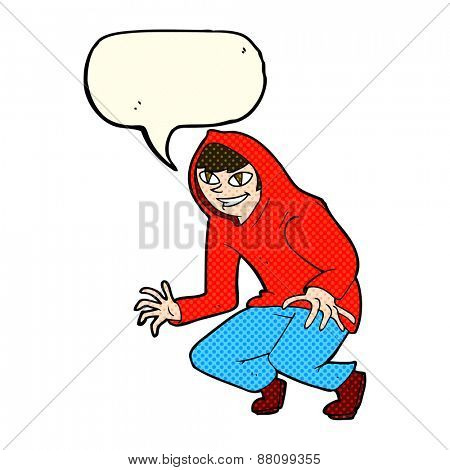 cartoon mischievous boy in hooded top with speech bubble