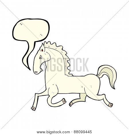 cartoon running white stallion with speech bubble