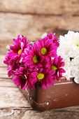 image of old suitcase  - Old wooden suitcase and flowers on wooden background - JPG
