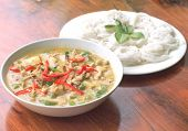 picture of curry chicken  - spicy chicken green curry with rice noodles - JPG