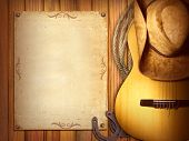 stock photo of guitar  - American Country music poster for text - JPG