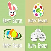 foto of easter eggs bunny  - Happy easter cards illustration with easter eggs and easter bunny - JPG