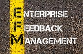 picture of enterprise  - Acronym EFM - Enterprise Feedback Management. Business Conceptual image with yellow paint line on the road over asphalt stone background. - JPG