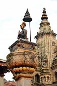 picture of king cobra  - Statue of the Newari King Ranjit Malla in Bhaktapur Nepal - JPG