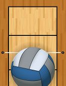 stock photo of volleyball  - A vertically oriented aerial view of a volleyball and court background illustration - JPG