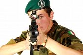 stock photo of gun shot wound  - A Green Beret with his machine gun to stop intimate - JPG