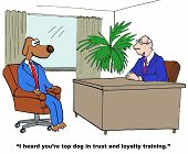 stock photo of loyalty  - Cartoon of businessman saying to business dog - JPG