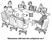 picture of interrupter  - Cartoon of business meeting - JPG