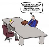 image of negotiating  - Cartoon of two businessmen in a negotiation - JPG