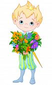 picture of prince charming  - Illustration of Cute Little Prince Holds bouquet of flowers - JPG