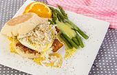 pic of benediction  - Exquisite dinner of lump crab meat over eggs benedict with bearnaise sauce over asparagus - JPG