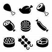 stock photo of meat icon  - Meat Icons Set on White Background - JPG