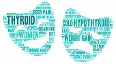 pic of fibromyalgia  - Mood swing thyroid word cloud on a white background in the thyroid cancer ribbon colours - JPG