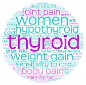 picture of fibromyalgia  - Circle shaped thyroid word cloud on a white background - JPG