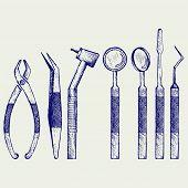 stock photo of medical equipment  - Set of medical equipment tools for teeth dental care - JPG