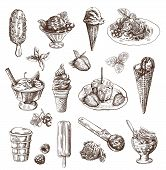 pic of fruit bowl  - Vector set with hand drawn detailed ice cream and fruit dessert - JPG