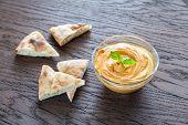 stock photo of pita  - A Bowl Of Hummus With Pita Slices - JPG