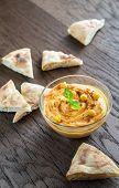 image of pita  - A Bowl Of Hummus With Pita Slices - JPG