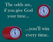 stock photo of stewardship  - clocks  with message of time stewardship - JPG